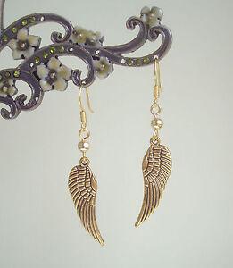 Antique Golden Guardian Angel Wing Dangly Drop Earrings