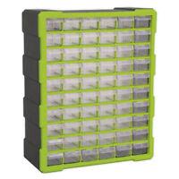 Sealey Hi - Vis Bright Green Black Cabinet Storage Box - Composite Drawers x 60