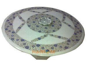 """48"""" White Marble Dining Table Top Lapis Lazuli Floral Inlay With 28"""" Stand W357"""