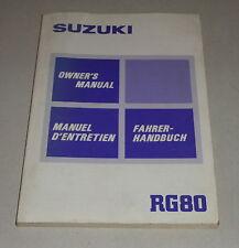 Betriebsanleitung Suzuki Motorrad RG 80 Stand 03/1985