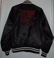 Vintage 90s Northwest Pipeline Mens Black Satin Jacket West Ark L Coat Red RARE