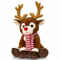 Keel Toys CHRISTMAS Brown REINDEER with SCARF 20cm QUALITY SOFT TOY