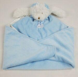 Blankets & Beyond Large Blue White Bear Teddy Bear Security Blanket NuNu Lovey