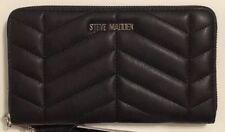 Steve Madden Black Quilt Chevron Zip Around Wallet