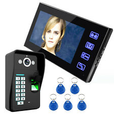 """7"""" 1000 TVL LCD Fingerprint Video Door Phone Doorbell Intercom Monitor RFID Card"""