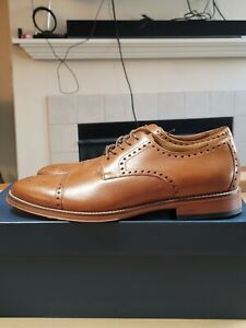 Johnston & Murphy Dempsey Cap Toe Tan Leather Oxford Mens Sz 9 ~ Brand New