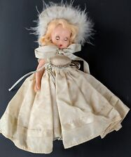 """Nancy Ann Storybook 5.5"""" Hard Plastic Doll White Gown with Bell Fur Hat Winter"""