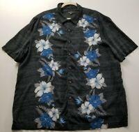 George Men's Short Sleeve Button Up Shirt 2XL Multicolor Floral Hawaiian Rayon