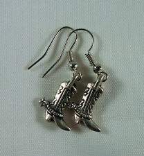Cowboy Cowgirl Boot w/ Spurs Earrings, Tibetan Silver Charm.  For Horse Lovers!