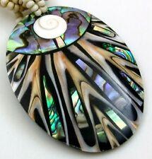 ABALONE, CONE SHELLS & SHIVA EYE necklace: EA316