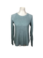 CAbi Women's XS Blue Sky Swing Sweater Cable Knit Pullover Long Sleeve Crew Neck