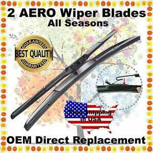 "AERO HYBRID 24"" & 22"" PREMIUM OEM QUALITY SUMMER WINTER WINDSHIELD WIPER BLADES"