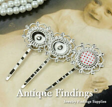 10pcs Silver Plated Flower 12mm Cameo Cabochon Bobby Pin Hair Findings HA189