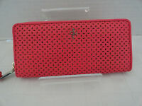 NWT COLE HAAN Travel Zip Wallet Clutch PUNCH PINK - PIERCED LEATHER - FREE Ship