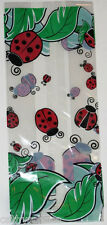 """25 Ladybug Print 5x3x11"""" Cello Bags & Red Twist Ties Candy Goody Garden Party"""