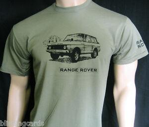 RANGE ROVER T-SHIRT  5 sizes in Olive Green, Khaki or Grey - Original 2-Door Car