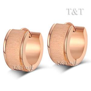 Fashion T&T 9K Rose Gold GP Stainless Steel Hoop Earrings (EX32)