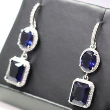 3 Ct Blue Sapphire Dangle Earrings 14K Gold Plated Wedding Engagement Jewelry