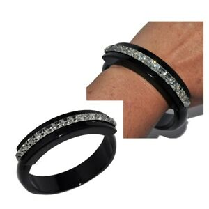 Bracelet Bangle Cuff Resin Black and Rhinestones Crystal White Jewel