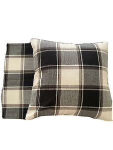 1 Pair Cotton 18 x18 Square Plaid Black & White Cushion Coves Home Decorative