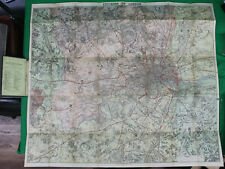 Original c 1870 Wh Smith Linen Backed Hand Colored Environs of London Map