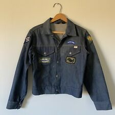 Vintage Sears Toughskins Denim Trucker Jacket WWII Military Patches Boys 16