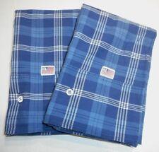 2 Rare Ralph Lauren Americana Plaid Check King Pillow Cases Classic Blue White
