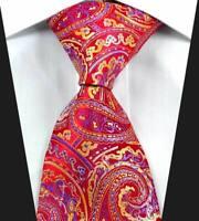 Hot Classic Paisley Red Purple Gold JACQUARD WOVEN 100% Silk Men's Tie Necktie