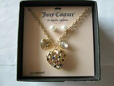 "Juicy Couture Heart 20"" Pendant Necklace With Pearl Stud Earrings Women Girls"