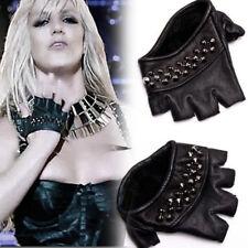 SKINGRAFT Black GUNMETAL Studded KNUCKLES Fingerless Genuine LEATHER Half Gloves