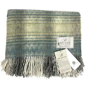 Bronte By Abraham Moon Green Check Throw Blanket Tartan 100% Merino Wool