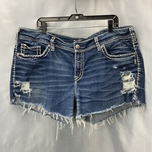 Silver Suki Sz 22 Cut Off Denim Blue Jean Shorts Holes Distress RawHem Plus Size