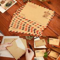 10 piezas hermosa antigüedad Kraft correo aéreo sobre postal carta estacionaria
