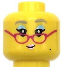 Lego New Yellow Minifigure Head Female Lavender Eyebrows Eyeshade Glasses