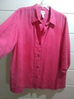 CHICOS DESIGN Size 3 Womens Pink 100% Linen Button Down Blouse Top Long Sleeve