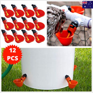 12pcs Chicken Waterer System Chook Water Feeder Gravity Feed Cup Poultry Bird AU