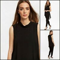 Wallis Jumpsuit Size 10   Black Embellished Overlay Style   BNWT   £60 RRP   New