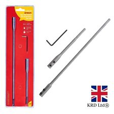 3Pc FLAT WOOD BIT EXTENSION BAR SET Shank 6'' & ''12 + Hex Key Amtech F0770 UK
