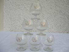 Anciens 6 verres à cognac en cristal à décors d'une couronne de laurier et N