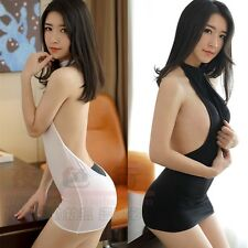 Women Backless See Through Dress Short Sheer Voile Halter Bodycon Slim Fit New