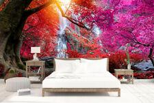 3d 瀑布在热带雨林丛林自粘卧室墙壁画墙纸