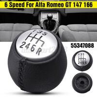 6 MARCE POMELLO LEVA DEL CAMBIO PELLE NERO PER ALFA ROMEO GT 147 166 3.2 V6