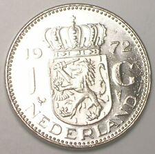 1972 Netherlands Dutch One 1 Gulden Juliana Coin XF+