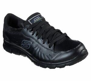 76551 Skechers Women's ELDRED SLIP RESISTANT Work Shoes BLK Black A5
