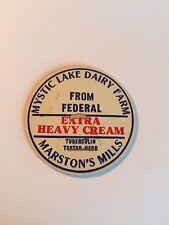 MILK BOTTLE CAP. MYSTIC LAKE DAIRY FARM. MARSTON'S MILLS, MA. Cape Cod