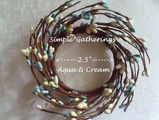 """AQUA BLUE CREAM Pip Berry Candle Ring Wreath 2.5""""  2 1/2"""" Inner Ring Cottage"""