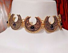 Dorado Luna Metal Gargantilla Piedra Negra Collar Bohemio Media N1