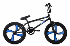 "BMX Bike 20"" Freestyle BMX Mag Wheels Daemon Schwarz-blau 360 Rotor 4 Pegs 663B"
