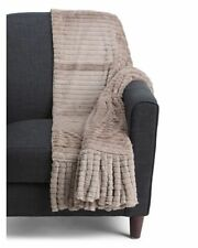 """Luxuriously Soft Brushed Faux Fur Foxtail Throw  60x50"""" Mink Weimaraner Rescue"""