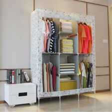 Fabric Canvas Wardrobe Clothes Storage Cupboard Organiser Metal Framed Hanging